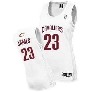 Frauens Cleveland Cavaliers #23 Lebron James Weiß neue Swingman Fashion Kaufen Basketball Trikots
