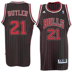 Chicago Bulls #21 Jimmy Butler neue Swingman Stripe Alternate Schwarz Kaufen Basketball Trikots