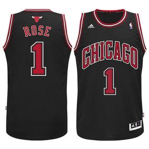 Jugend Chicago Bulls  #1Derrick Rose Revolution 30 Swingman Schwarz Kaufen Basketball Trikots