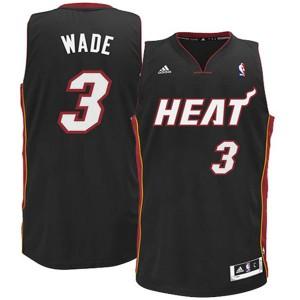 Jugend Miami Heat #3 Dwyane Wade Revolution 30 Schwarz Swingman Kaufen Basketball Trikots