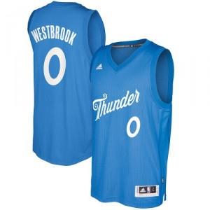 Herren Adidas Oklahoma City Thunder 0 Russell Westbrook authentische Königsblau 2016 - 2017 Weihnachtstag NBA-Trikot
