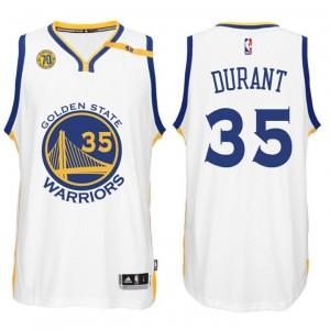 NBA Golden State Warriors #35 Kevin Durant Home weiß 70. Jahrestag 42 Patch Trikot