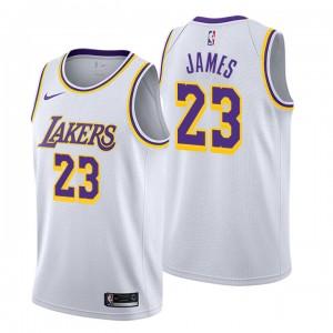 Männer Los Angeles Lakers # 23 Lebron James Verband Weißer Swingman Trikot