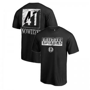 Dallas Mavericks Dirk Nowitzki # 41 Yin Yang Marmor Schwarzes T-Shirt