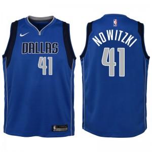 Jugend Dallas Mavericks # 41 Dirk Nowitzki Blau Swingman Trikot-Symbol Ausgabe