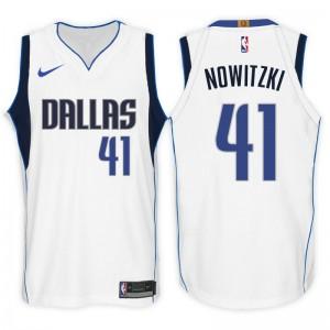 Dallas Mavericks für Männer # 41 Dirk Nowitzki Association Weißes Swingman-Trikot