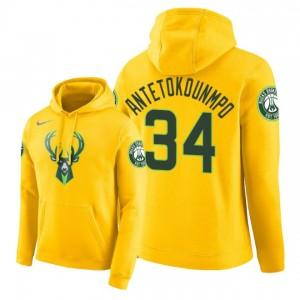 NBA Männer Milwaukee Bucks # 34 Giannis Antetokounmpo City Ausgabe Hoodie - Gelb