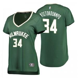 Fanatics Branded Milwaukee Bucks für Frauen # 34 Giannis Antetokounmpo Symbol Ausgabe Grünes Replik-Trikot