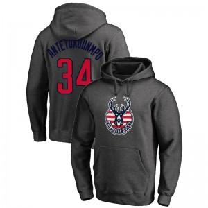 Milwaukee Bucks Giannis Antetokounmpo # 34 Reifen für Truppen Grey Hoodie