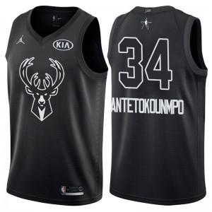 NBA All-Star-Spiel Milwaukee Bucks # 34 Giannis Antetokounmpo Schwarz Swingman Trikot
