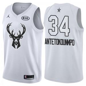 NBA-All-Star-Spiel Milwaukee Bucks # 34 Giannis Antetokounmpo Weiß Swingman Trikot