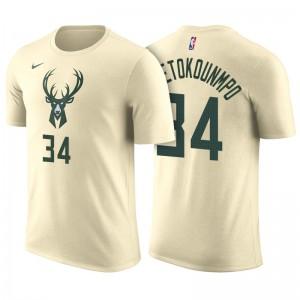Milwaukee Bucks # 34 Giannis Antetokounmpo City Ausgabe Creme Name und Nummer Trikot T-Shirt