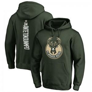 Fanatics Branded Milwaukee Bucks für Männer # 34 Giannis Antetokounmpo Grün Backer Name und Nummer Pullover Hoodie
