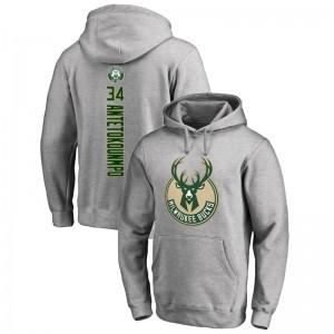 Milwaukee Bucks Giannis Antetokounmpo # 34 Backer Pullover Grey Hoodie