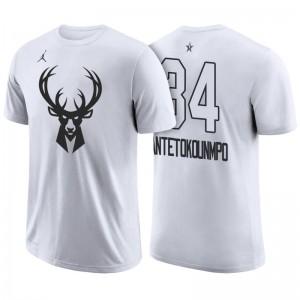 NBA-All-Star-Spiel Milwaukee Bucks # 34 Giannis Antetokounmpo Weiß Name und Nummer Spieler T-Shirt