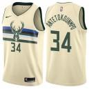 Herren Milwaukee Bucks ^ 34 Giannis Antetokounmpo City Edition Beige Swingman Jersey