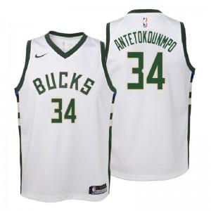 Jugend Milwaukee Bucks # 34 Giannis Antetokounmpo Association Weiß Swingman Trikot