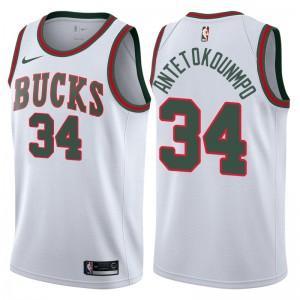 Milwaukee Bucks für Männer # 34 Giannis Antetokounmpo Weiß Gehen Sie zurück zu MECCA Hardwood Klassiker Swingman Trikot