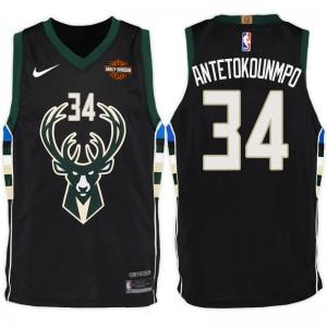NBA Milwaukee Bucks # 34 Giannis Antetokounmpo Statement Schwarz Trikot