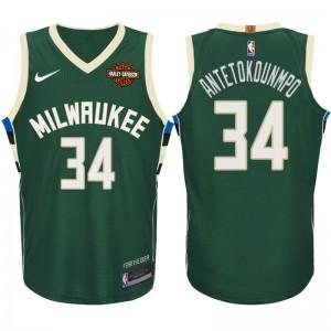 NBA Milwaukee Bucks # 34 Giannis Antetokounmpo Symbol Grün Trikot