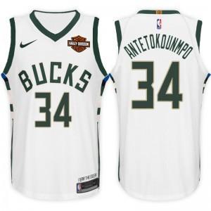 NBA Milwaukee Bucks # 34 Giannis Antetokounmpo Association Weiß Trikot