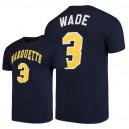 NCAA Männer Marquette Golden Eagles ^ 3 Dwyane Wade T-Shirt für Hochleistungsstudien - Navy