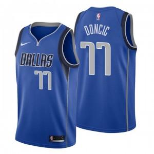 Männer NBA Entwurf Dallas Mavericks # 77 Luka Doncic Icon Edition Blau Swingman Trikot