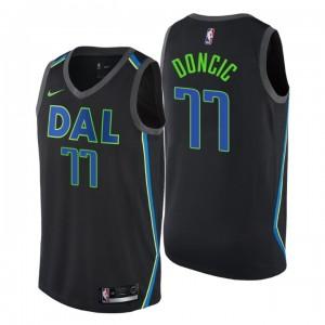 Männer NBA-Entwurf Dallas Mavericks # 77 Luka Doncic City Edition Schwarzes Swingman-Trikot