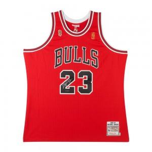 MICHAEL JORDAN Signierte 1996-97 BULLS ROT NBA FINALS flicken MITCHELL # NESS TRIKOT