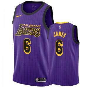 Los Angeles Lakers LeBron James #6 Lila schwarze Streifen City Herren Trikot