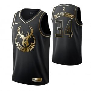 Milwaukee Bucks #34 Giannis Antetokounmpo Schwarz Golden Auflage Trikot