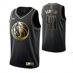 Dirk Nowitzki Dallas Mavericks #41 Schwarz Golden Edition Trikot