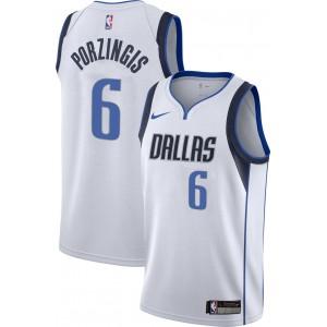 Nike Dallas Mavericks Kristaps Porzingis # 6 weißes Dri-FIT Swingman-Trikot