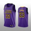 LeBron James 19-20 Los Angeles Lakers Nike Herren Lila City Auflage Trikot