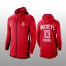 Houston Rockets - James Harden - Roter Hoodie mit durchgehendem Reißverschluss