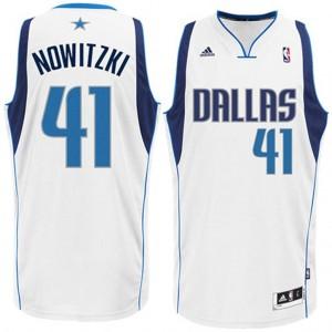 Dallas Mavericks  #41 Dirk Nowitzki Revolution 30 Swingman Startseite Weiß Kaufen Basketball Trikots