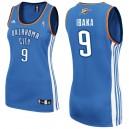 Oklahoma City Thunder &9 Serge Ibaka Women Blue Jersey