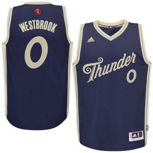 NBA 2015-16 Saison Oklahoma City Thunder #0 Russell Westbrook Weihnachten Marine Blau Kaufen Basketball Trikots