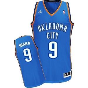 Oklahoma City Thunder #9 Serge Ibaka Revolution 30 Swingman Road Blau Kaufen Basketball Trikots